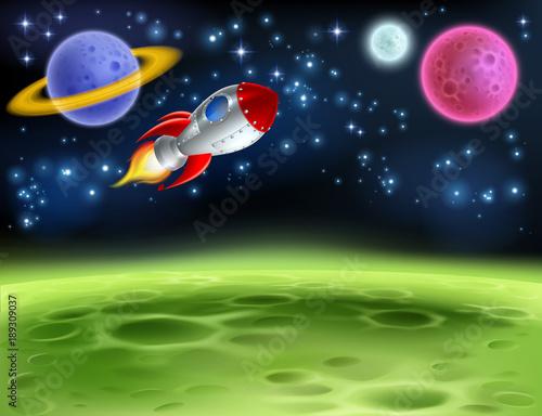Tło kreskówka planety kosmicznej, rakieta i planety w nocy