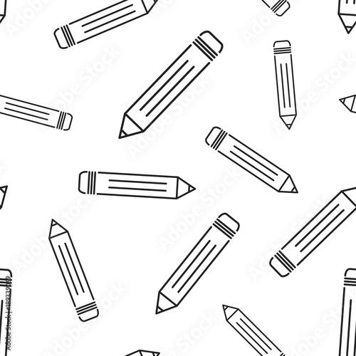 Ołówek wzór tła. Biznesowa płaska wektorowa ilustracja. Ołówek wzór symbol znak.