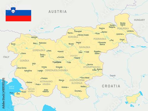 Wallpaper Mural Slovenia Map - Detailed Vector Illustration