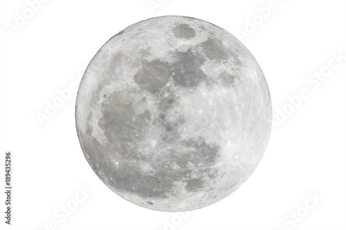 Canvas Print Full moon isolated over white background