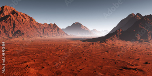 Carta da parati Sunset on Mars, dust obscured Martian landscape. 3D illustration
