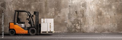 Fotografia, Obraz Gabelstapler beim Transportieren von Fracht