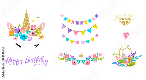 Photo Unicorn head with flowers - card and shirt design
