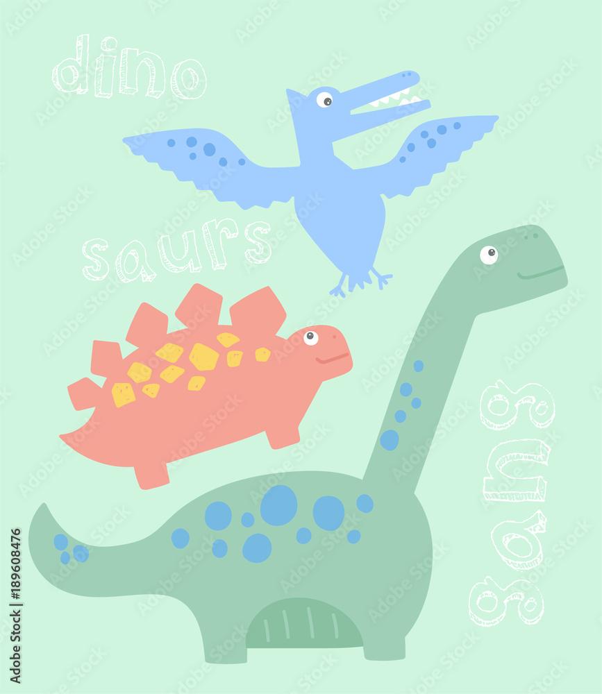 fajna i urocza grafika dinozaurów do tee i innych zastosowań <span>plik: #189608476 | autor: neruda</span>