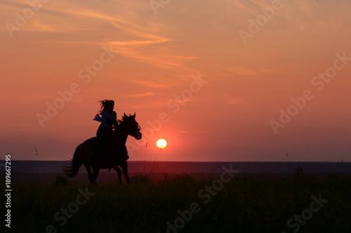 Photo Galloping horse on sunset
