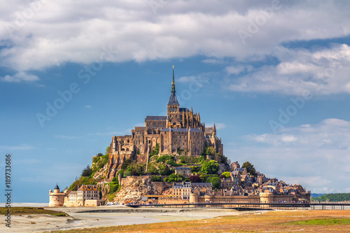 Obraz na plátně Beautiful Mont Saint Michel cathedral on the island, Normandy, Northern France,