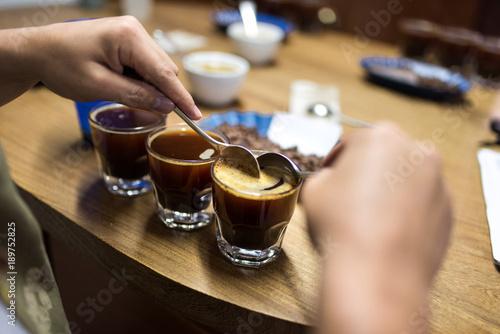 Obraz na płótnie Professional coffee cupping, coffee tasting