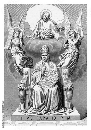 Obraz na plátne Allegorical apotheosis of Pope Pius IX on his throne, surrounded by angels and J