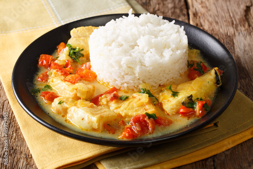 Ecuadorian cuisine: Pescado encocado or fish with coconut sauce close-up. Horizontal