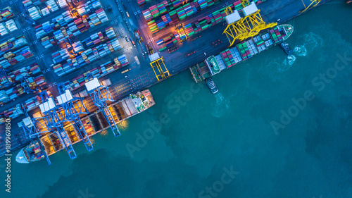 Stampa su Tela Aerial view of container cargo ship, Container cargo ship in import export logistic, Logistics and transportation of International bulk container cargo ship carrier boat