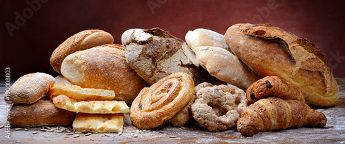 Fotografia Bakery products: bread, flat bread, donuts and pastries