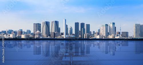 Fotografia Modern cityscape viewed from observation platform.