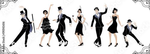 Fototapeta premium Impreza Charleston. Zestaw w stylu Gatsby. Grupa retro kobieta i mężczyzna tańczy charleston. Zabytkowy styl. tancerz sylwetka retro. tło wektor party. taniec huśtawki