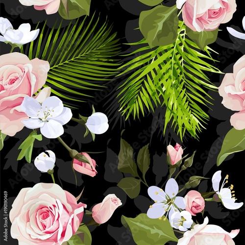 Tapeta w czarnym kolorze z kwiatami 3D