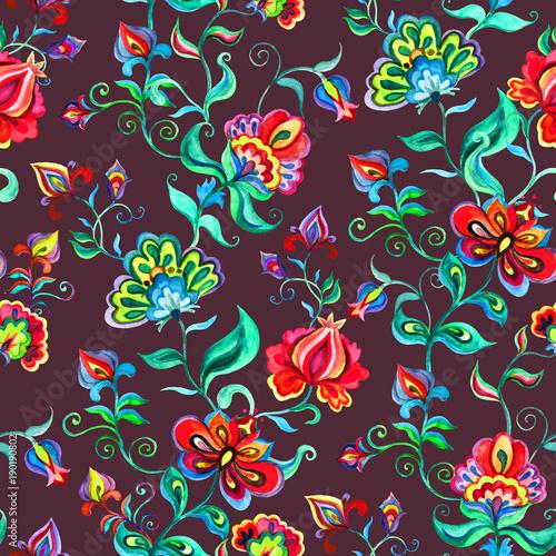 Fototapeta Dekoracyjne kwiaty bajki na ciemnym tle