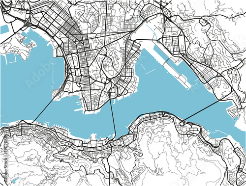 Obraz na plátně Black and white vector city map of Hong Kong with well organized separated layers