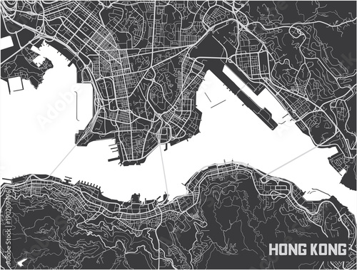 Obraz na plátně Minimalistic Hong Kong city map poster design.