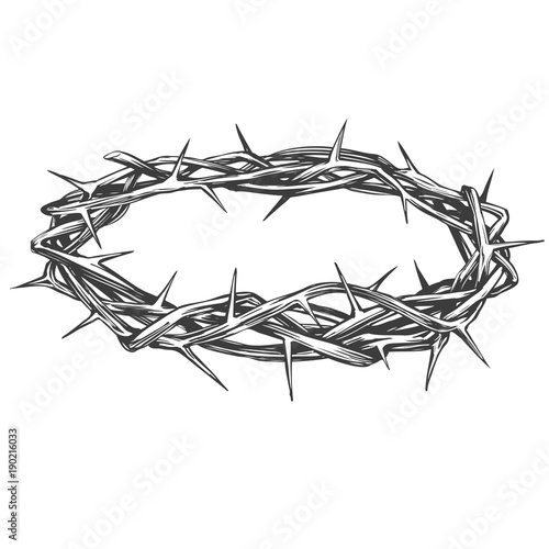 Vászonkép crown of thorns, easter religious symbol of Christianity hand drawn vector illus