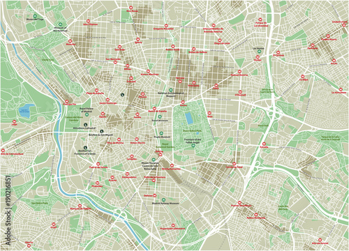 Wallpaper Mural Vector city map of Madrid with well organized separated layers.
