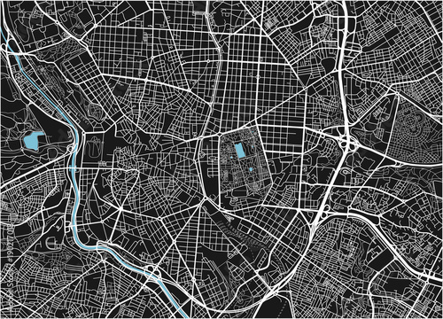 Canvas Print Black and white vector city map of Madrid with well organized separated layers