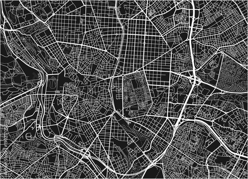 Wallpaper Mural Black and white vector city map of Madrid with well organized separated layers