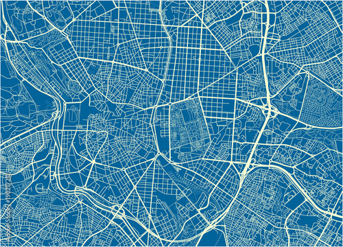 Photo Blue and White vector city map of Madrid with well organized separated layers