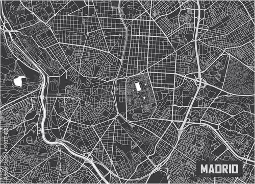 Canvas Print Minimalistic Madrid city map poster design.