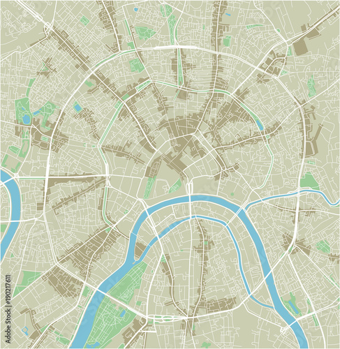 Obraz na plátně Vector city map of Moscow with well organized separated layers.