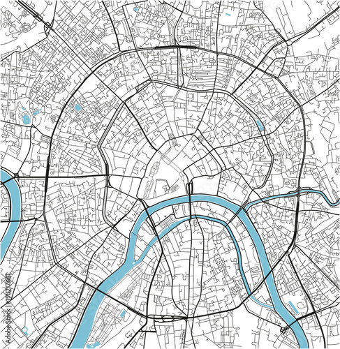 Obraz na plátně Black and white vector city map of Moscow with well organized separated layers