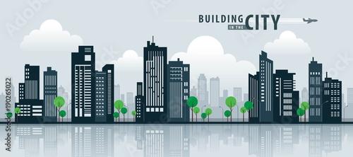 Obraz na plátne White Building in the City, skyscraper Perspective