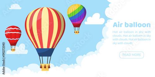 Flat hot air balloon Fototapeta