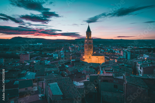 Canvas Print Vista de Fraga en Huesca al atardecer
