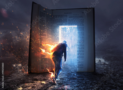 Canvas Man on fire and Bible