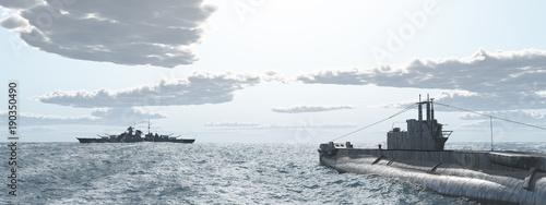 Canvas Print Britisches Unterseeboot und deutsches Schlachtschiff aus dem Zweiten Weltkrieg