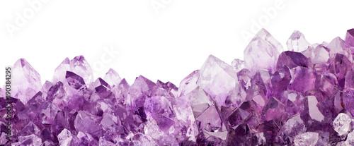 isolated light amethyst crystals stripe macro