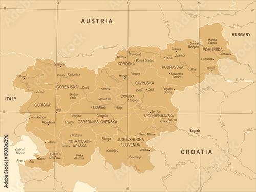 Photo Slovenia Map - Vintage Detailed Vector Illustration