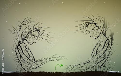 sylwetka drzewa jak kobieta i mężczyzna opiekują się pierwszymi zielonymi główkami, rodzicami lub rodziną, pierwsza wiosna kiełkuje,