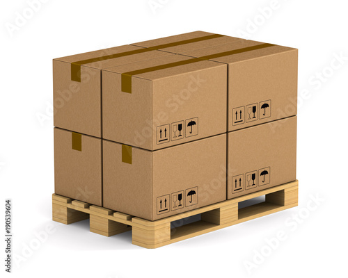 Fotografia wooden pallet with cargo box on white background