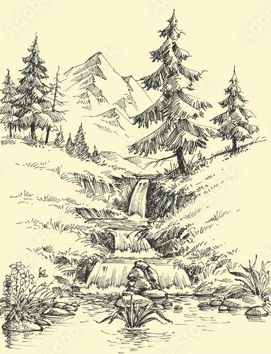 Fotografia A creek in the mountains. Alpine waterfall landscape