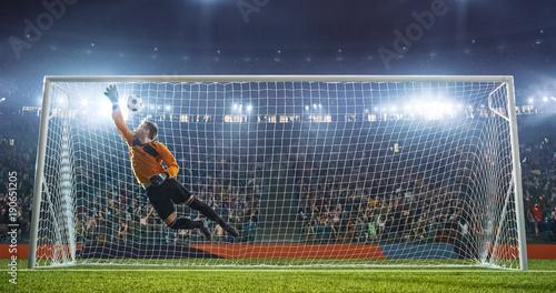 Cuadros en Lienzo Soccer goalkeeper in action on the stadium