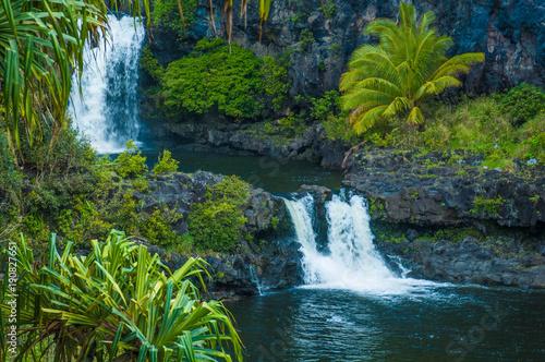 Carta da parati Waterfall scene on Maui