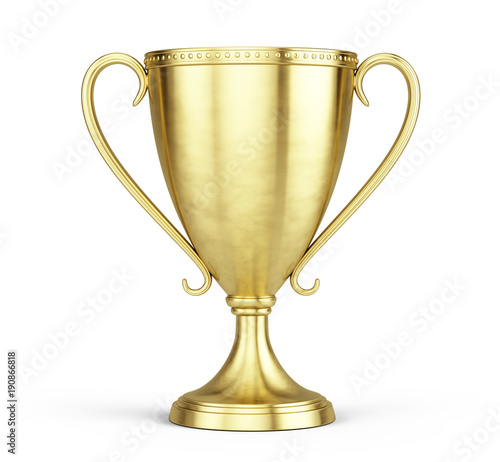 Fototapeta Gold trophy cup isolated on a white background. 3d rendering