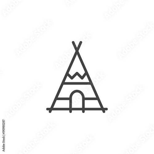 Canvas Print Indian tepee line icon, outline vector sign, linear style pictogram isolated on white