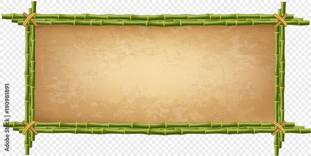 Kreatywnie wektorowa ilustracja bambusowa kij granica odizolowywająca <span>plik: #190981891   autor: Ekaterina</span>