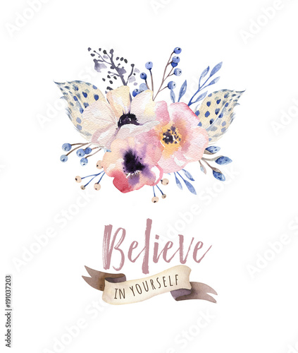 Obraz na płótnie Kwiatowy akwarela w stylu boho