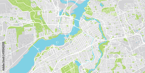 Fotografie, Obraz Urban vector city map of Ottawa, Canada