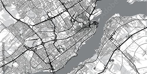Obraz na plátně Urban vector city map of Quebec, Canada