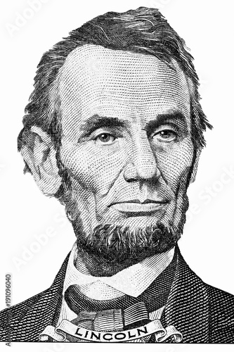 Canvas Print The face of Lincoln the dollar bill