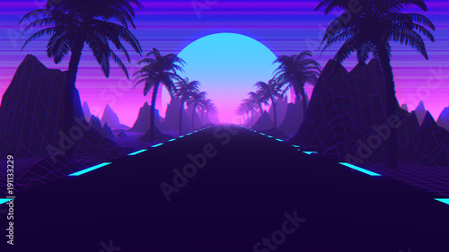 Stampa su Tela 80s Retro Scifi Synthwave And Outrun Background 3D Illustration