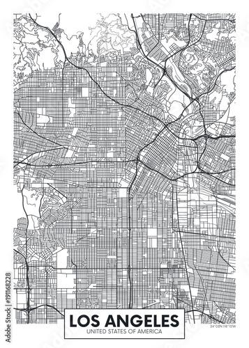 Fototapeta premium Wektor plakat mapa miasta Los Angeles